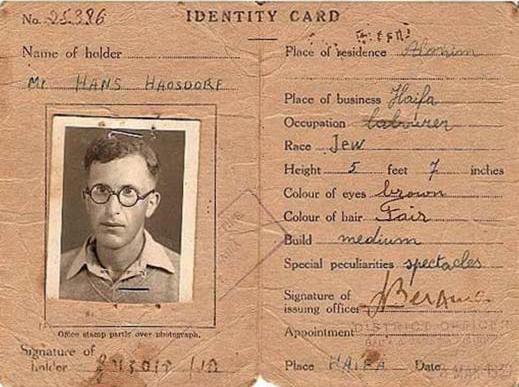 "Identity-Card von Hans Hausdorf, Haifa 1939, aus ""Herr Israel"" © www.tomkimmig.de"