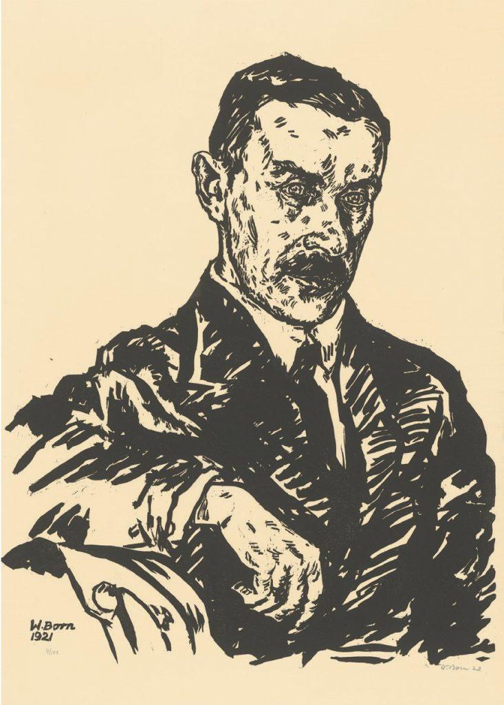 Wolfgang Born (1893-1949): Thomas Mann, 1921. Holzschnitt, 60 x 45 cm. Staatliche Graphische Sammlung, München. © Prof. Dr. Gustav V. R. Born, London.